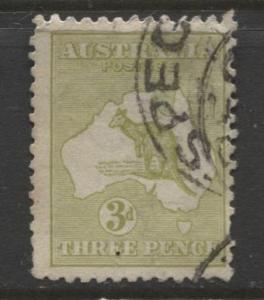 Australia - Scott 47 - Kangaroo -1915 - FU - Wmk 10 - Die I - 3d Stamp
