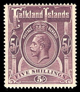 Falkland Islands 1914 5sh Plum Scott #38 Mint, Lightly Hinged