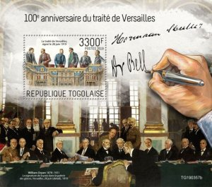 TOGO - 2019 - Treaty of Versailles - Perf Souv Sheet - MNH