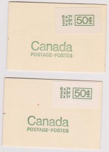 Canada - 1971 50c Booklets Large Stickers Type I and Type II #BK68a & BK68b