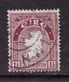 Ireland-Sc#108-used 1&1/2p claret rose-Map of Ireland-1941-