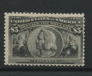 1893 US Stamp #245 Mint Hinged F/VF Original Gum Catalogue Value $2300 Certified