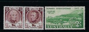 AUSTRALIA SCOTT #263-65 1953 TASMANIA SESQUICENTENARY- MINT LIGHT HINGED/NH