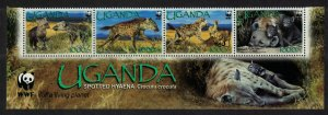 Uganda WWF Spotted Hyaena Bottom Strip of 4v WWF Logo 2008 MNH SC#1892a-d