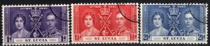 St Lucia #107-9 F-VF Used (X1127)