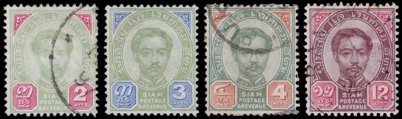 Siam - Thailand Scott 12-14, 16 (1887) Used/Mint H F-VF, CV $22.25