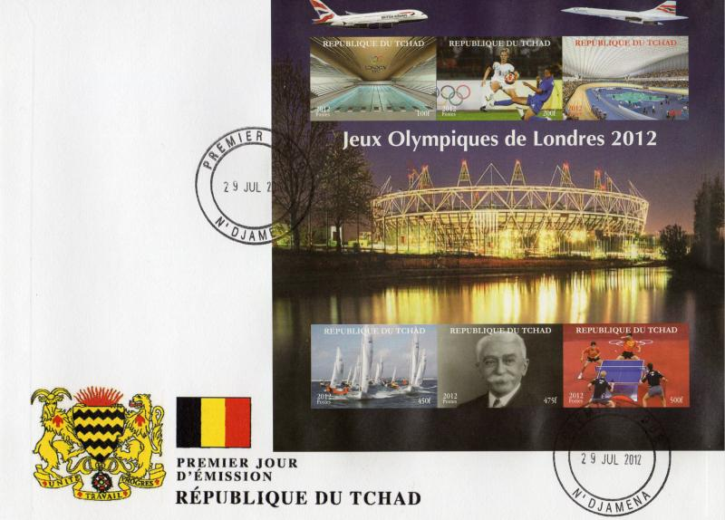 Chad 2012 London Olympic/Tennis-table/Concorde Sheetlet (6) Imperforated FDC