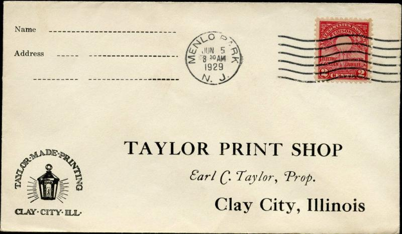 #654 MENLO, PARK U.S. FIRST DAY COVER TAYLOR MADE PRINTING CACHET BM9885