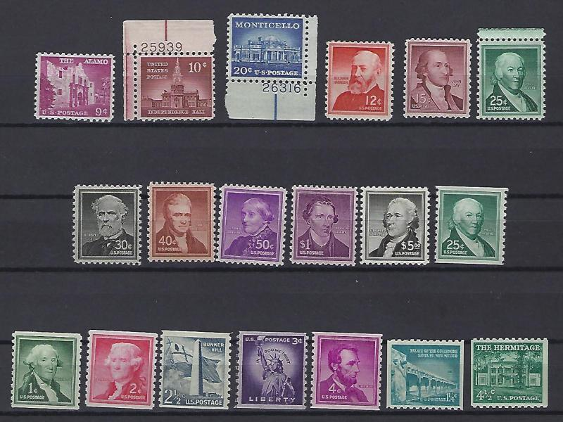 USA #1043+++ 19 stamps 17 stamps are M/N/H 1045. 12 cent dis gum 1053 Has vvlh,
