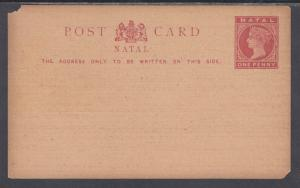 Natal H&G 2 mint 1885 1p QV Postal Card, J. Roy & Co. Transport Rates