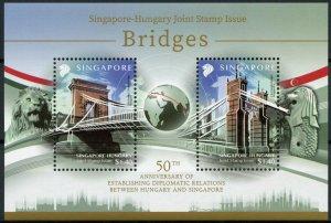 Singapore Bridges Stamps 2020 MNH Diplomatic Relations Hungary Merlion 2v M/S