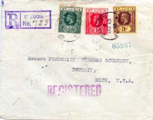 Saint Lucia 1/2d, 1d and 3d KGV 1918 Castries, St. Lucia Registered to Detroi...
