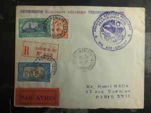 1931 Saigon Vietnam First Flight Cover to Paris France Air Orient 250 flown FFC