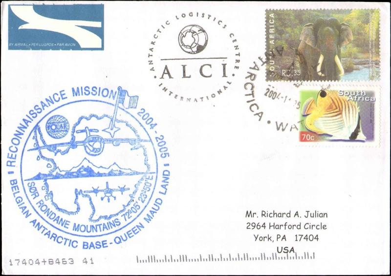 2004 SOUTH AFRICA ANTARCTIC RECONNAISSANCE MISSION CACHET QUEEN MAUD