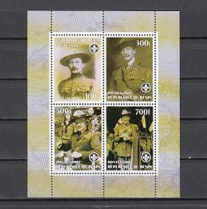 Benin, 2007 Cinderella issue. Scout Baden Powell sheet of 4. Scout logo..