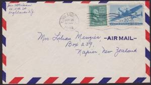 USA 1946 airmail cover 50c rate Highlands NJ to New Zealand.................6761