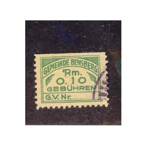 Germany - Bensburg 0,10 RM Municipal Revenue Stamp