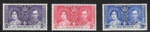 Mauritius (1937) - Scott # 208 - 210,   MNH