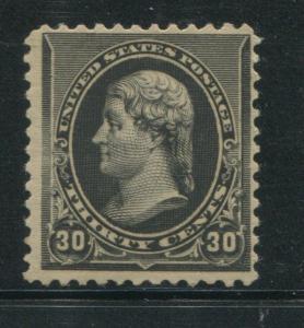 1890 US Stamp #228 30c Mint Hinged F/VF Original Gum Catalogue Value $280