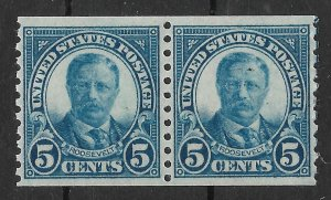 Doyle's_Stamps: 1924 NH Horizontal Coil Pair of 5c Roosevelt's