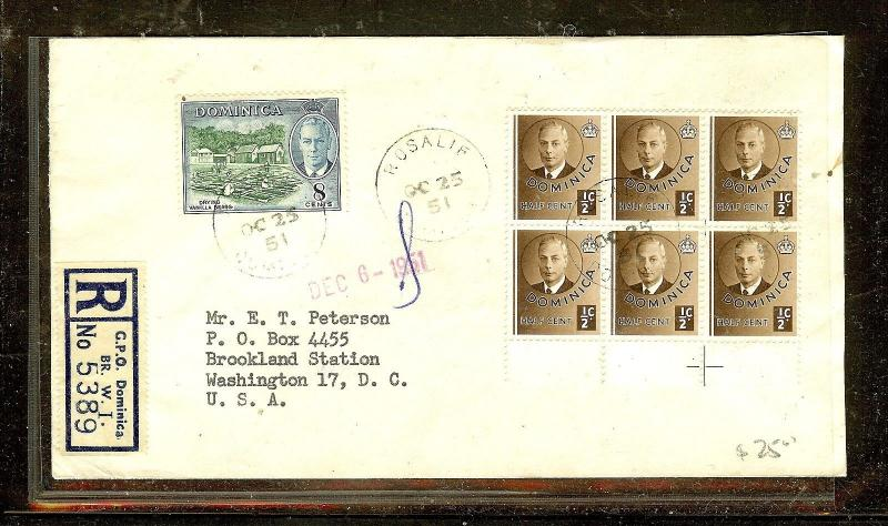 DOMINICA  (P2104B)  1951  KGVI  REG 1/2CX6+8C ROSALIE TO USA
