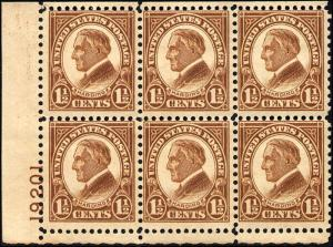 1927 US Stamp #633 A156 1.5c Mint NH Plate Block of 6 Catalogue Value $120