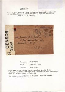 1918, AEF in BEF: 310th Inf., 78th Div., See Remark (M4060)