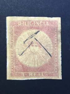 uruguay stamp 1856, Type A, pos.23, Cat:£350 Scott#3a 1 Real Diligencia
