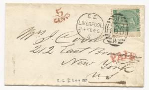 GREAT BRITAIN Scott #48 Pl #4 Tied to New York, NY Cover 1866 Liverpool