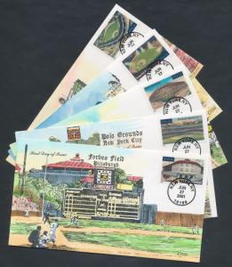#3510 // #3519 (5) DIFF. LEGENDARY PLAYING FIELDS COLLINS FDC CACHET BS6638