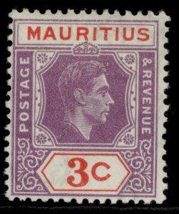 MAURITIUS GVI SG253, 3c reddish purple & scarlet, M MINT.