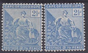 CAPE OF GOOD HOPE 1893 HOPE SEATED 21/2D BOTH SHADES