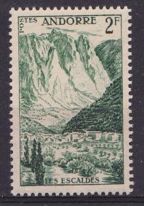Andorra-French 125 MNH 1955 2fr Les Escaldes Spa