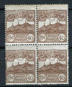 SAN MARINO; 1903-20s early Mt. Titano issue fine Mint BLOCK of 40c. value
