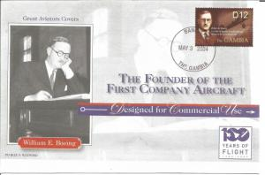 100 Years Of Flight First Day Cover William E. Boeing 2004 Gambia Z5499