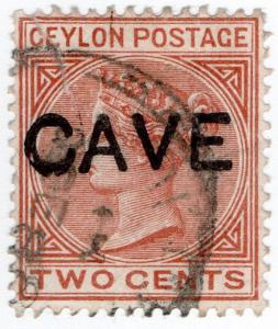 (I.B) Ceylon Postal : 2c Brown (CAVE overprint)