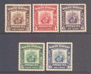 North Borneo Scott J50/54 - SG D85/89, 1939 Postage Due Set MH* fault (see desc)