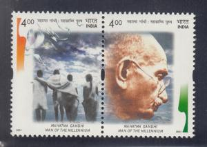 India 2001  # 1915a-b  Mahatma Gandhi  Pair   MNH  2 scans  12402  SD