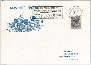 50002 ITALY - POSTAL HISTORY:   postmark on CARD 1972 - MUSIC: Madamme Butterfly