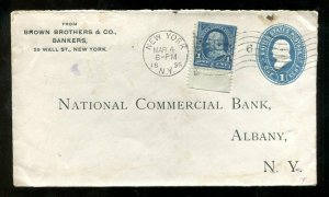d235 - NEW YORK 1898 Brown Bros Bank Entire. Uprated. Postal Stationery Cover
