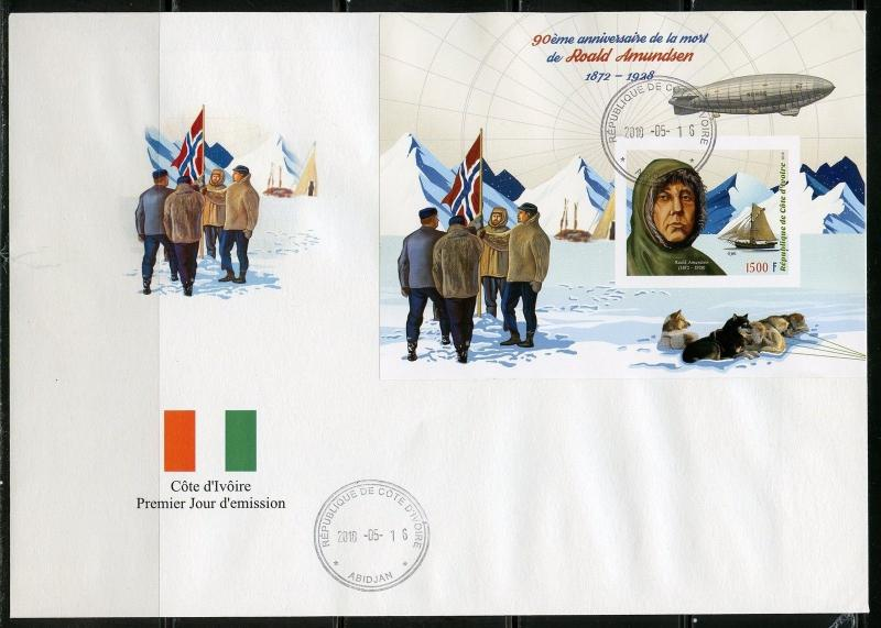 IVORY COAST 2018 90th MEMORIAL ANN OF ROALD AMUNDSEN SET IMPF DELUXE S/S  FDC