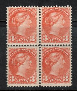 Canada #41 Very Fine Mint Block - 3 Never Hinged 1 Hinged