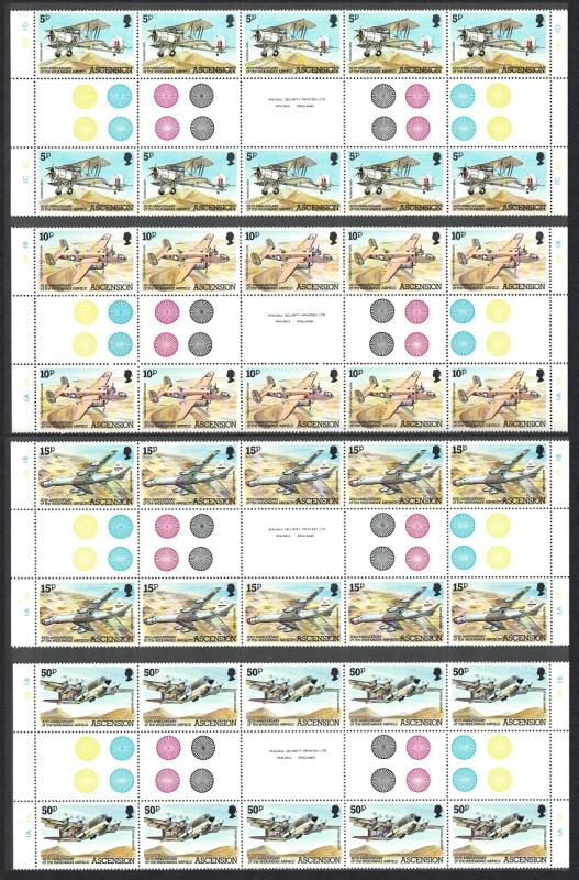 Ascension Wideawake Airfield Full Gutter Strips SG#318-321 SC#309-312