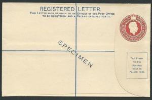BASUTOLAND GVI 4d registered envelope SPECIMEN.............................40166
