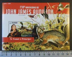 St Thomas 2015 john james audubon animals birds fauna s/sheet mnh