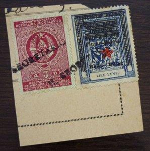 Fiume c1946 Croatia Italy Yugoslavia Revenue Stamps On Fragment  C4