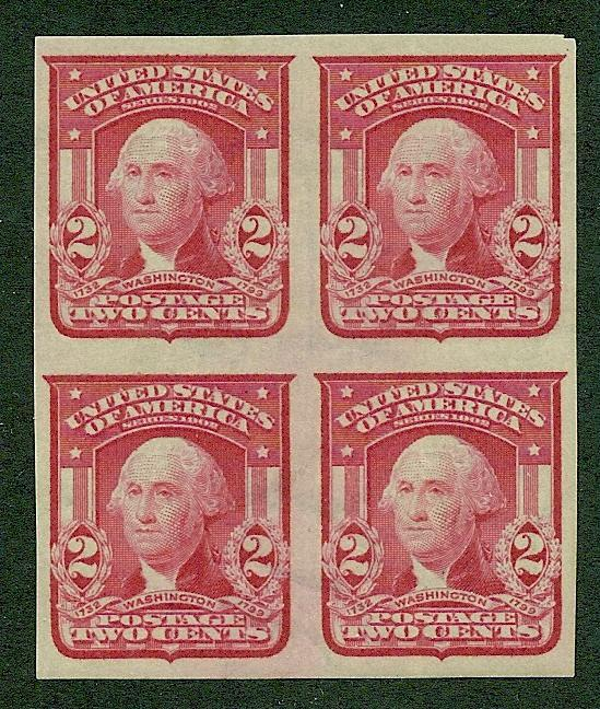 320 Unused,  2c. Washington, Imperf Block of 4,  scv: $65