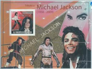1578 - S TOME & PRINCIPE, ERROR, 2009, MISSPERF SHEET: Michael Jackson, Music