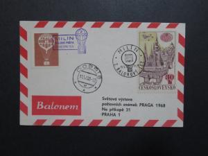 Czechoslovakia 1968 Balloon Card w/ Brown Poster Stamp - Z8815