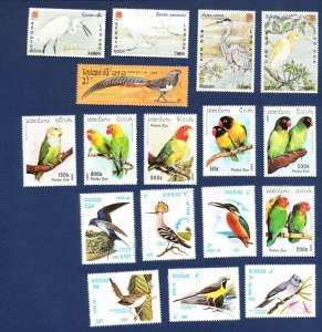 LAOS -  373 // 1638 - FVF MNH - BIRDS - 1982-1997 -- and more not shown